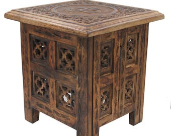 Solid Mango Wood Hand Carved Prayer Puja Shrine Altar Meditation Table (OM)