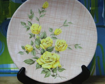 Stunning Yellow Rose Ornamin Ware Melmac T.M. Reg DinnerPlate For Picnic, Barbeque Floral