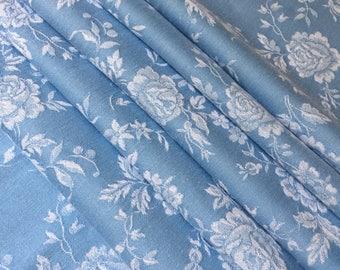 French Damask Roses Linen Ticking Fabric, Toile de Matelas