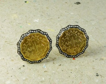 Silver Cuff-link Pair,Replica Of Old Coins,Gold Plated,Diamond Studded,Frame Black Oxidize,