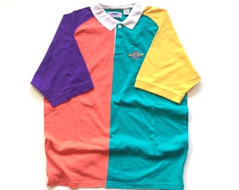 Gant Sport Rough Weather 90's Multi Colour Blocking cut and sewn Polo Golf Shirt / Collared Button Up  short sleeve Official vintage