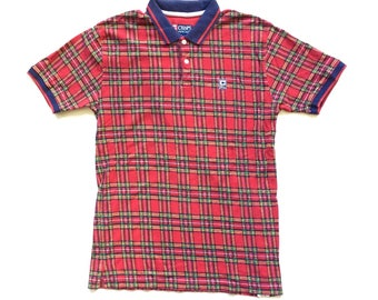 Chaps Ralph Lauren Plaid Checked Polo shirt / Short sleeve Collared Button Up men's Large multi colour plaid check