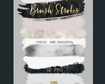 Brush Strokes Clip Art. Cream and charcoal. Black, whight, grey, watercolor grey, nude palette. Watercolor clipart. Digital Design Resource