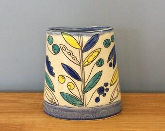 Handmade Envelope Vase. Vine & Blossom Deco. Glazed in Clear and Aqua. MA128