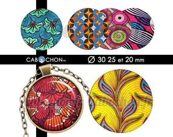 C'est la Wax ll • 45 Images Digitales RONDES 30 25 20 mm  tissu africain couleurs cabochon bijoux badges batik afrique fabric wax color