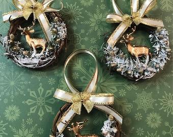 Christmas Ornaments Deer Christmas Ornaments Gold Christmas Ornaments Handmade Ornaments Woodland Ornaments Small Ornaments