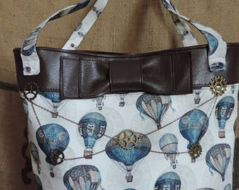 Steampunk shoulder handbag, hot-air balloon, gears, leather