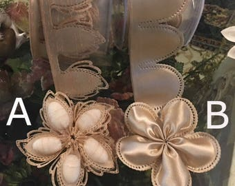 DARK IVORY Coccarde ribbons made in Italy, confetti flowers, Jordan almonds rolls, almond favors DIY  Flower Pull Bow Ribbon Jordan almonds