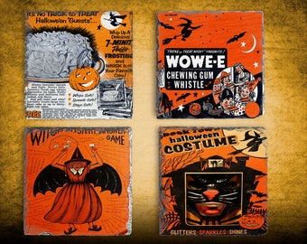 Halloween Decor Vintage Halloween Coaster Set, Hostess Gift, Slate Drink Coaster Set of Four, Holiday Coaster Set, Housewarming Gift Idea