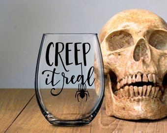 Creep It Real Drinking Glass, Halloween Party Favor, All Hallow's Eve Punk Gothic Beverage Container, Beer Wine Liquor Soda Milk Cup Mug