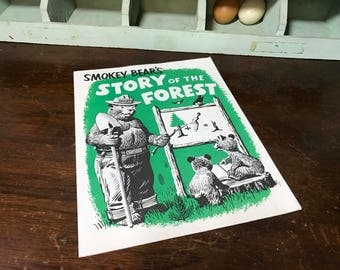 Smokey the Bear:  Smokey Bear's Story of the Forest Coloring Book - Only You Can Prevent Forest Fires - Forest Service Vintage Advertising