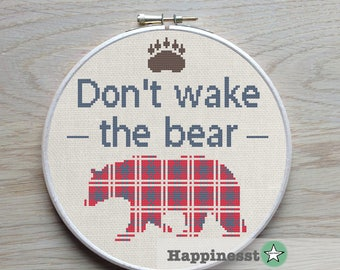 cross stitch pattern Don't wake the bear, outdoor, holiday, camping, woodland, adventure  PDF,  ** instant download**