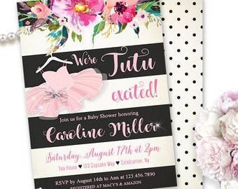 Ballerina Baby Shower Invitation, Tutu Excited Baby Shower Invitations, Ballet Themed Shower, Ballerina Shower, Floral, Pink Tutu, Printable