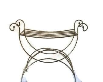 Vanity stool brass vanity seat Hollywood regency seat