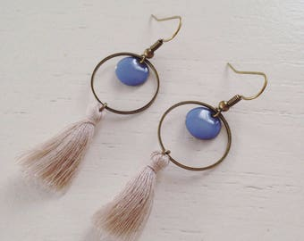 These bronze sequin and tassel earrings