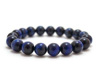 Blue Tiger Eye Bracelet/ 10mm Blue Tiger Eye/ Blue Stone Bracelet/ Mens Beaded Bracelet