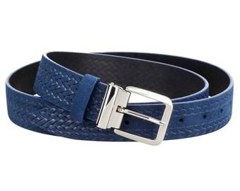 Mens leather belts Braided belt Braided leather belt Blue suede belt Womens belts ITALIAN BUCKLE