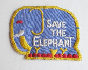 Vintage patch - Save the Elephant - sew on.