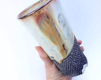 Tall Cup, Tumbler or Vase in Rust & White Crystalline Glaze, Hand Carved Texture, Hand Built Porcelain Tumbler. 6.75 in Tall, Food Safe