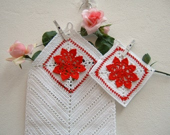 Red and white cotton kitchen towel and pot holder-full kitchen-crochet Christmas gifts-white crochet dishcloth and Potholder