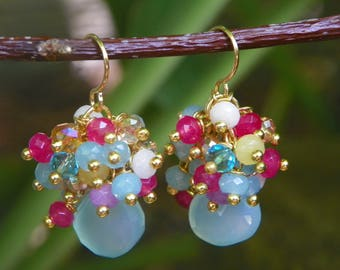 Gemstone, Crystal, and Chalcedony Cluster Earrings