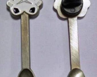 Stormtrooper Hat Pin Spoon Pendant - Miniature Spoon - Hat Pin - Dark Side Necklace Pendant