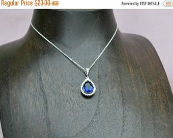 ON SALE Navy blue crystal necklace, sapphire drop necklace, blue bridesmaid necklace,  blue drop necklace