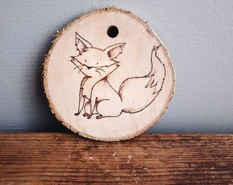 Cute fox wood burned christmas tree ornament