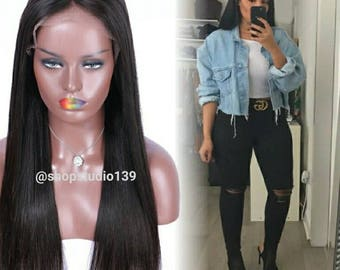 Beautiful long black straight lace front wig