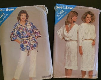 Set of 2 1980's See & Sew Patterns, 5448 , 5348, Ladies Dress and Shirt and Pants set