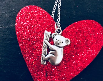"""Koala Bear Necklace """" Hang in there!"""""""