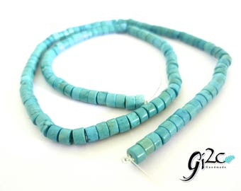 "4mm Turquoise Heishi Beads, 16"" Strand, Gemstone Beads, Jewelry Making Supplies"