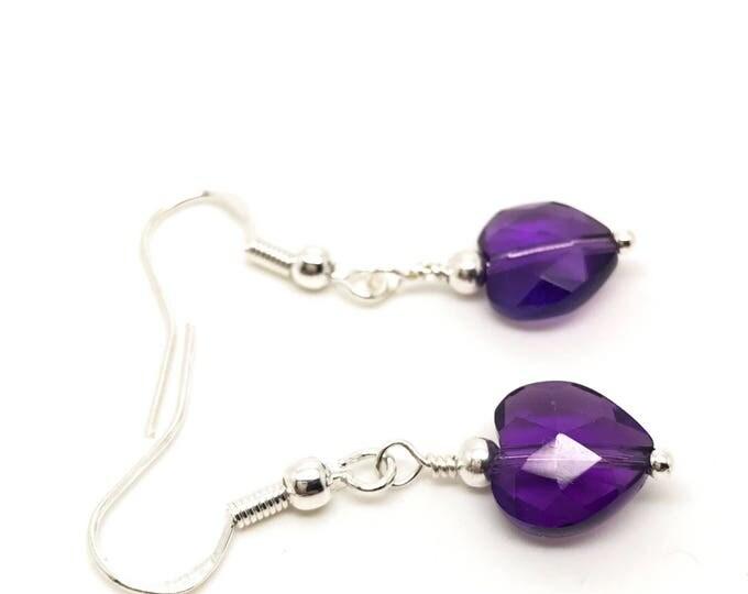 Amethyst earrings, February earrings, sterling silver hoop, quartz earrings, amethyst studs, birthstone earrings, prasiolite earrings