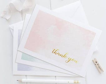 Watercolor thank you cards (6) - Gold foil card - Thank you cards set - OC007