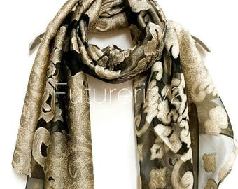 Stunning Lace Design Evening Scarf / Golden Brown Scarf / Spring Summer Scarf / Gifts For Her / Evening Shawl / Accessories
