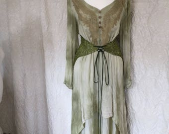 Pagan dress angle wings ,Boho dress olive green ,Vintage inspired dress, green lagen look ,  alternative bridal gown ,shabby chic green,raw