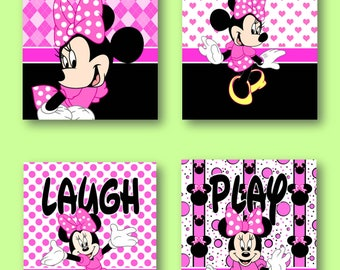 """Minnie Mouse Pink Sing Dance Laugh Play 8""""x10"""" Wall Art Prints"""