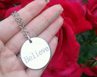 Believe necklace stainless steel necklace stainless steel gift ideas bijoyx gift