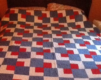 Vintage Red, White and Blue Quilt