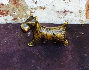 Cute Vintage Solid Brass Scotty Dog figure Scottish Terrier