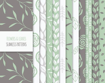 Floral Digital Paper Pack; Vector Seamless Patterns with Flowers, Leaves and Foliage; Printable Scrapbook Papers JPG + EPS; Green, Brown