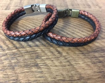 Men's Double Strand 6mm Braided Bolo Leather Bracelet With Interlocking Hook Clasp, Vintage Brown and Black 6mm Braided Bolo CS-15