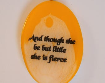 Shakespeare Quote Jewellery Necklace Pendant Little but Fierce