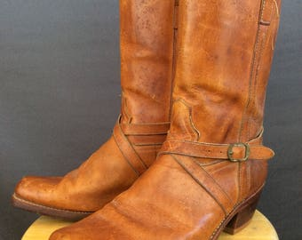 Vintage 70s Motorcycle Boots Vintage Harness Boots 12D
