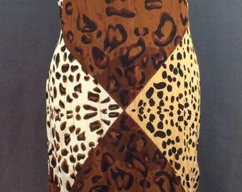 Vintage 90s Maxi Dress 90s Leopard Dress Vintage Summer Dress 90s Sundress Vintage Party Dress M L
