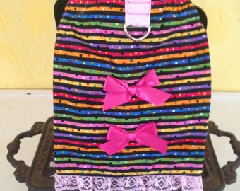 Multi Colored Striped Dress w/ twp pink bows
