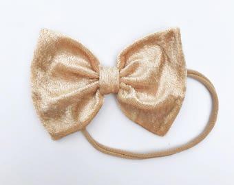 """Champagne Velvet bow- """"floppy"""" bow size, velour bow, velvet baby headband, gold bow, Christmas bow, baby christmas gift"""