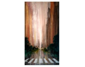 Original Oil Painting New York in Rain Extra Large Original (34inches x 18inches)