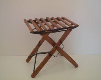 Antique little folding seat fisherman. French Folding Fishing stool. French fishing chair.  Vintage garden seat. Picnic seat.