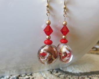 Venetian Murano Glass Earrings -- Marbled Lentil Glass Bead Earrings -- 14K Gold Filled -- Murano Glass Earrings